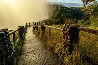 The path and bridge to The Knife Edge. Victoria Falls. Zambia.