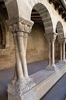 Twisted column in the cloister of the Church of San Pedro de la Rúa in Estella-Lizarra, Navarre, Spain.