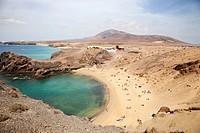 beach, Punta del Papagayo, Lanzarote island, Canary archipelago, Spain, Europe.