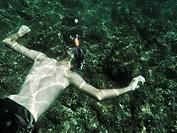 Snorkel man underwater.