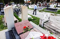 Tomb of Enver Hoxha ( 1941 1985 ) former communist dictator of Albania at Sharra Cemetery where his body was moved without grandeur in 1992 . Tirana ,...