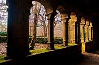 Cloister. Monastery of Santa Cristina de Ribas de Sil. IX century medieval Monastery. Romanesque church XII-XIII century. Ribeira Sacra. Orense. Galic...