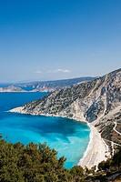Kefalonia Myrtos Beach - famous white beach with blue sea.