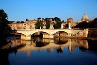 Italy. Rome. Looking across the Tiber River and Ponte Vittorio Emanuele to Vatican City.