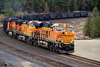 BNSF coal train at Scribner Siding, Marshall, Washington, USA.