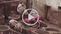 Fes, Morocco - 18 July 2014: Chouara traditional leather tannery in Fez, Morocco.