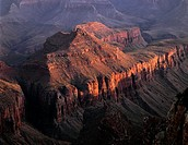 USA, Arizona, Grand Canyon National Park, North Rim, Setting sun warms Krishna Shrine, view south from Cape Royal.