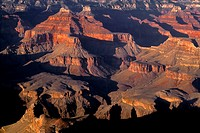 Evening light and shadows define buttes, view northeast from Hopi Point, South Rim, Grand Canyon National Park, Arizona, USA.