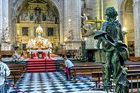 Sculpture of risen Jesus made in bronze, located at the entrance of the baptistery in the entrance area to the choir stalls, opposite the high altar o...