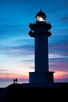 Sunset at the lighthouse of Es Cap de Barbaria. Formentera (Balearic Islands).