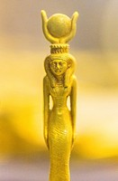 Egypt, Cairo, Egyptian Museum, gold statuette of a goddess with an hathoric crown.