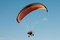 Paramotor flight. Alburquerque, Badajoz province, Extremadura, Spain.