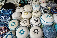 Kippha head coverings in Safed, Golan Heights, Israel, Middle East.