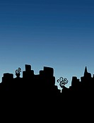 A man and a woman as part of a silhouetted city skyline. Thinking of each other.