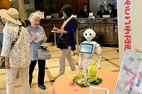 Pepper the humanoid robot, created by French company Aldebaran Robotics and Japanese company Softbank Mobile, Sunroute hotel, Hiroshima, Japan.
