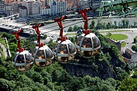 City of Grenoble with les bulles, cable car in the city. Grenoble, Isere, Auvergne Rhone Alpes, France.