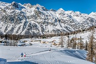 Winter Landscape in Val Fex in the Engadine, Grisons, Switzerland.