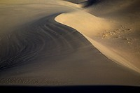 Patterns and ripples produced by erosion are the dominant features of Eureka Dunes at Death Valley National Park, California.
