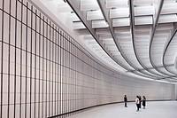 Interior of MAXXI National Centre of Contemporary Arts designed by Zaha Hadid in Rome, Italy.
