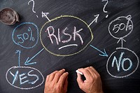 Written with chalk on graphic representation of the word risk whiteboard.