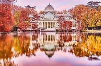 The Palacio de Cristal (Crystal Palace), located in the heart of The Buen Retiro Park. Madrid. Spain.