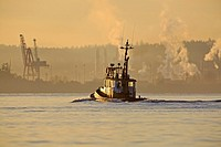 Tugboat leaving harbour in morning, Nanaimo, Vancouver Island, British Columbia.