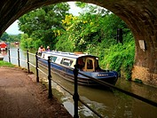 Houseboats along Avon Canal,Bath. Somerset. England. United Kingdom.