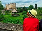Parade Gardens and the Empire Hotel building,Bath. Somerset. England. United Kingdom.