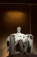 Statue of Abraham Lincoln at the Lincoln Memorial, Washington D.C. at night.