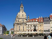 Neumarkt Square and Frauenkirche Church in the city of Dresden, Saxony, Germany.