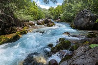 The Thethit river at the village of Theth, Northern Albania.