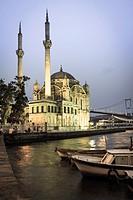 Ortakoy mosque at dusk, Istanbul, Turkey.