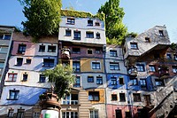 Austria, A-Vienna, Danube, Federal Capital, Hundertwasser House by Friedensreich Hundertwasser, residential building, home decor, facade painting, UNE...