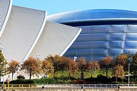 SECC, also known as the Armadillo, conference centre with the Hydro concert hall, Glasgow, Scotland, UK.