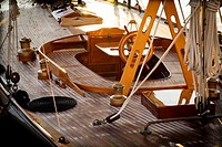Deck of a vintage sailboat in the morning. Port of Mahó, Minorca, Balearic Islands, Spain