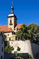 View of Regiswindis Church in the smalltown of Lauffen, Baden-Wurttemberg, Germany.