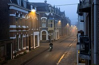 Tilburg, Netherlands. A foggy Tuinstraat, early morning just after sunrise.