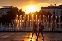 Sunset, NDK Water Cascade, Sofia, Bulgaria.