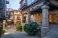 Street. Mogarraz, Sierra de Francia Nature Reserve, Salamanca province, Castilla Leon, Spain.