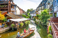 Colmar, part of old town called Little Venice, scenic picturesque town, Alsace, France.