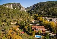 Aerial photography using a drone: Puente Vadillos and Hoz de Beteta, Serranía de Cuenca, Cuenca province, Castilla-La Mancha, Spain
