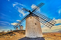 Landscape with windmills of Consuegra. Don Quixote route. Toledo. Castile-La Mancha. Spain.