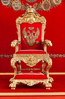 The Throne in the Throne Room, Hermitage Museum, St Petersburg, Russia.