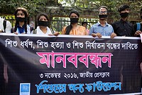 DHAKA, BANGLADESH - NOVEMBER 03 : A group of people made a protest against child rape and women violance in Dhaka, Bangladesh, on November 03, 2016. ....