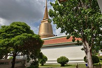 View through the trees of Wat Sommanat in Nang Loeng in Bangkok, Thailand.