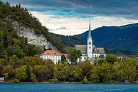 Evening over St Martin's Parish Church along Lake Bled, Bled, Upper Carniola, Slovenia.