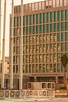 The front of the United States Embassy seen from The Malecon (Maceo Avenue) in Vedado, Havana, Cuba.