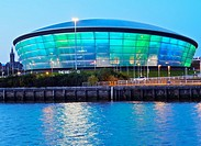 UK, Scotland, Lowlands, Glasgow, Twilight view of the Hydro.