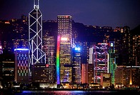 China, Hong Kong, Central district, skyline, night,.