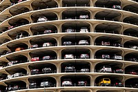 USA, IL, Chicago. Large, multi-storey public parking lot.